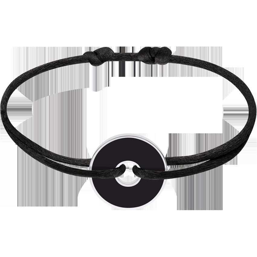 Bracelet sur cordon Pi White & Black argent et onyx
