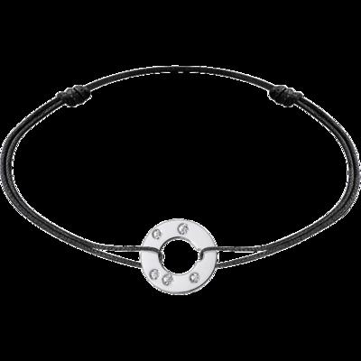 Bracelet sur cordon Cible petit modèle or blanc et diamants