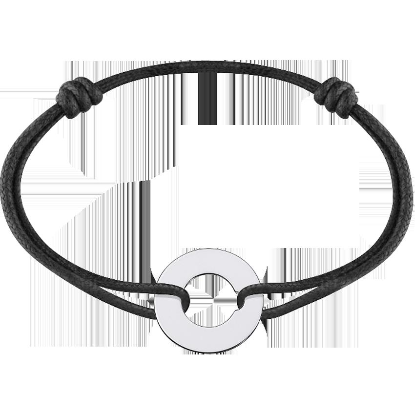 Bracelet sur cordon Cible grand modèle or blanc