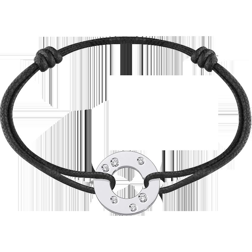 Bracelet sur cordon Cible grand modèle or blanc et diamants