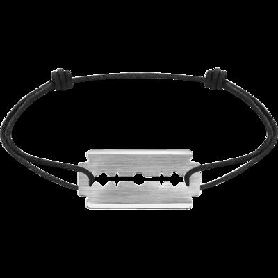 Bracelet sur cordon Lame de Rasoir or blanc PM