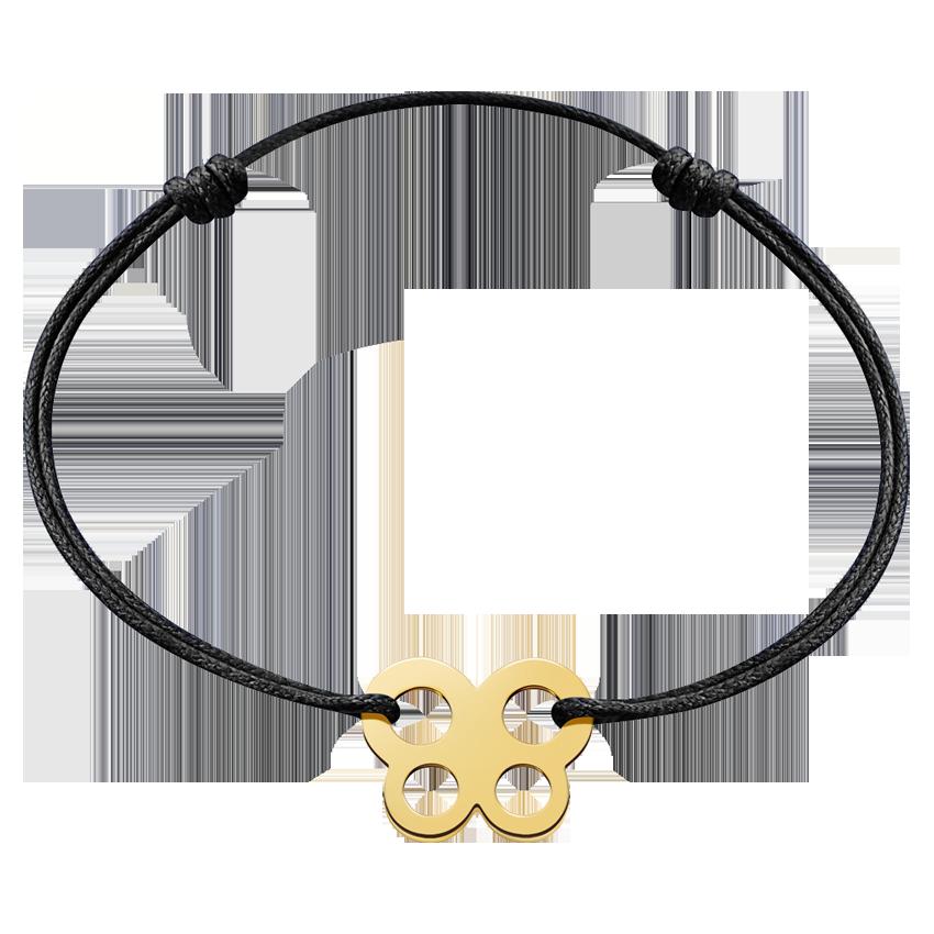 Bracelet sur cordon Bubbles papillon or jaune