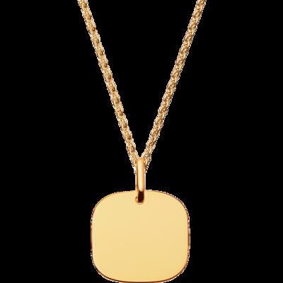 Pendentif Plaque Carrée petit modèle or jaune
