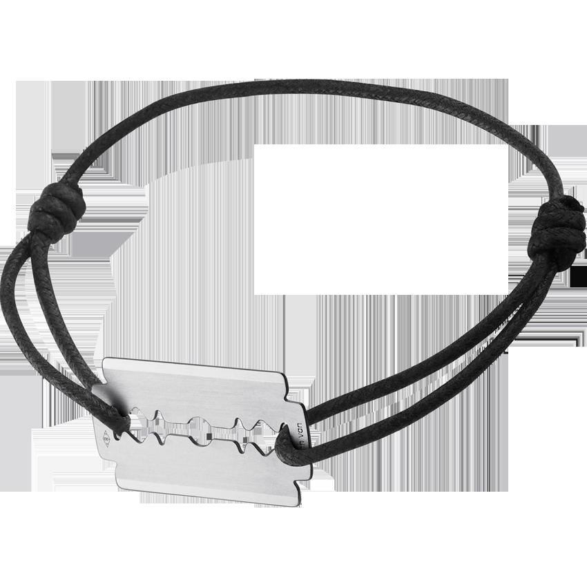 Bracelet sur cordon Lame de Rasoir or blanc GM