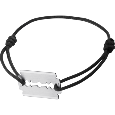 Bracelet sur cordon Lame de Rasoir or blanc GM