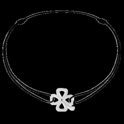 Bracelet sur cordon Bubbles trèfle or blanc