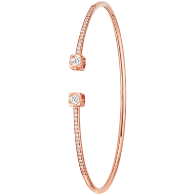 Bracelet Le Cube Diamant grand modèle or rose et diamants