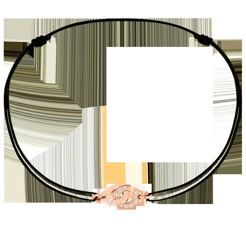 Bracelet sur cordon Menottes dinh van R8 or rose et diamants