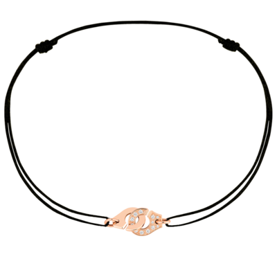 Bracelet sur cordon Menottes dinh van R8 or rose et diamants