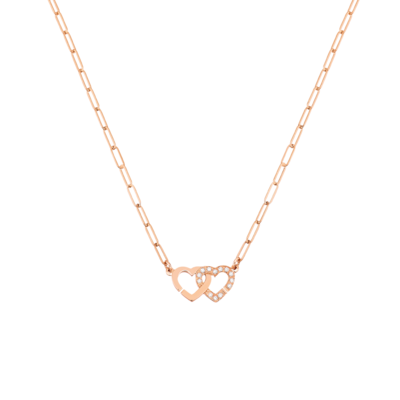Collier Double Cœurs R9 or rose et diamants