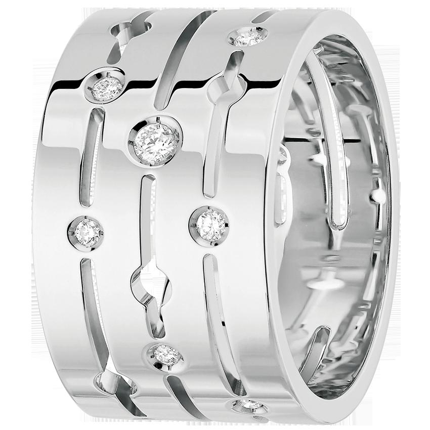 Bague Pulse dinh van grand modèle or blanc et diamants