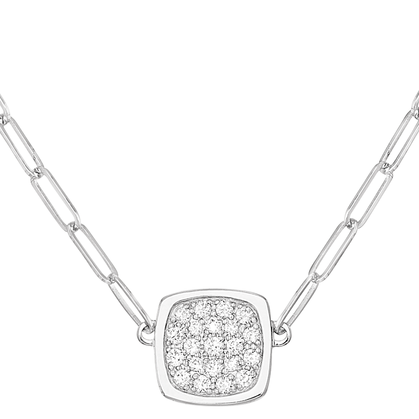 Collier Impression petit modèle or blanc et diamants