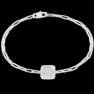 Bracelet sur chaîne Impression petit modèle or blanc et diamants