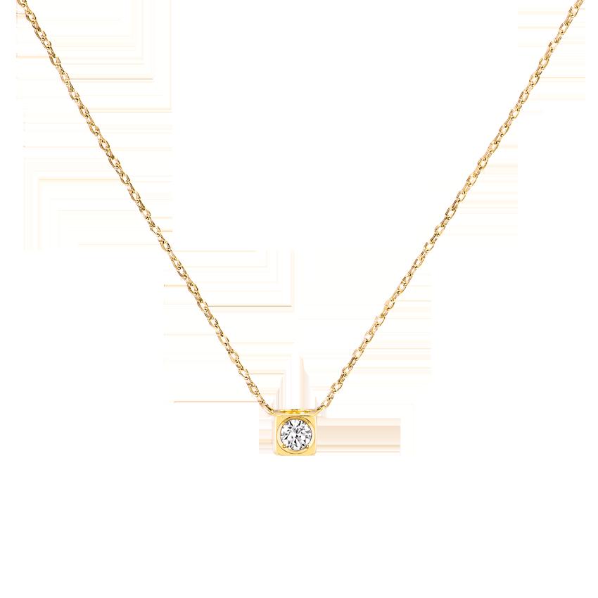 Collier Le Cube Diamant moyen modèle or jaune et diamant