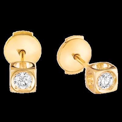 Puces d'oreilles Le Cube Diamant moyen modèle or jaune et diamants