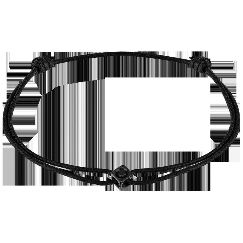Bracelet sur cordon Le Cube Diamant titane noir et diamant noir