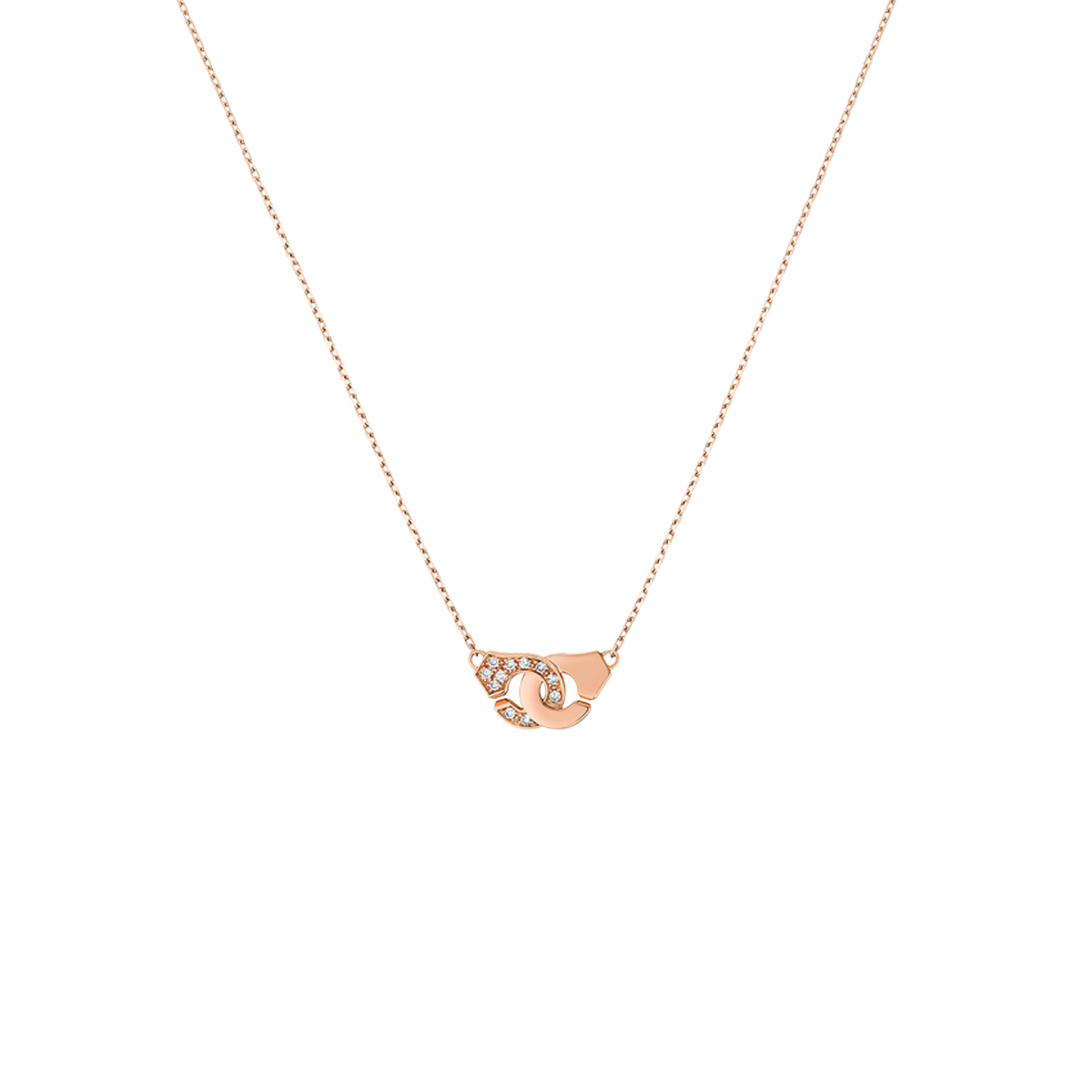 Collier Menottes dinh van R8 or rose et diamants