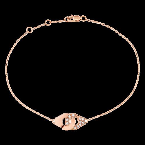 Bracelet Menottes dinh van R8 or rose et diamants