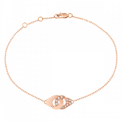 Bracelet Menottes dinh van R8 or rose et diamants