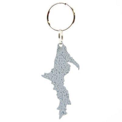 Upper Peninsula Key Chain - Hammered Silver
