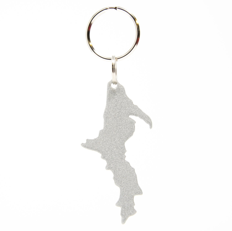 Upper Peninsula Key Chain - Sparkly Silver