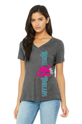 Royal B Threads - Women's Dark Heather Gray Short Sleeve V-Neck Tee