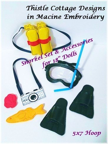 """7 pc. Scuba Mask, Fins & Accessories Set  ITH for 18"""" Dolls"""