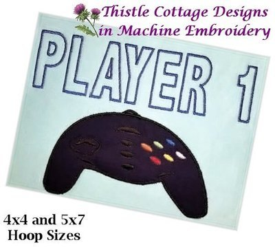 Game Controller Players 1 and 2     5x7 Hoop