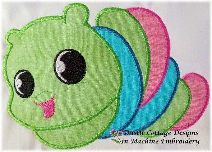 Cute Caterpillar Applique 5x7