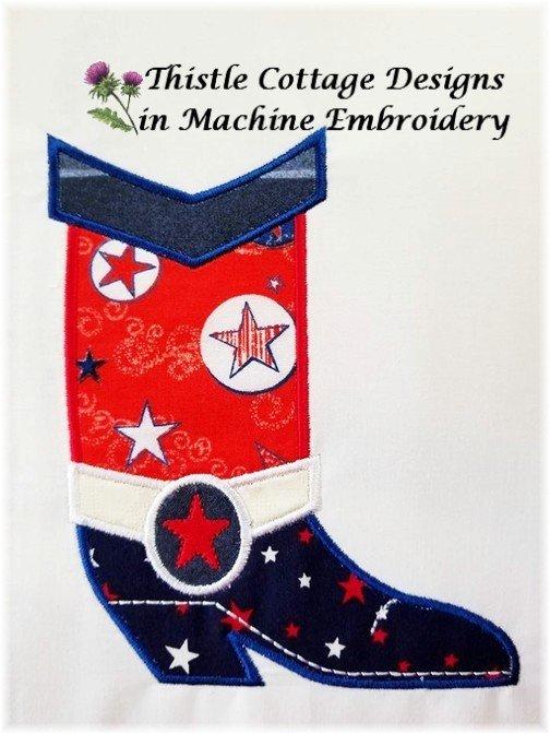 Patriotic Western Boot Applique