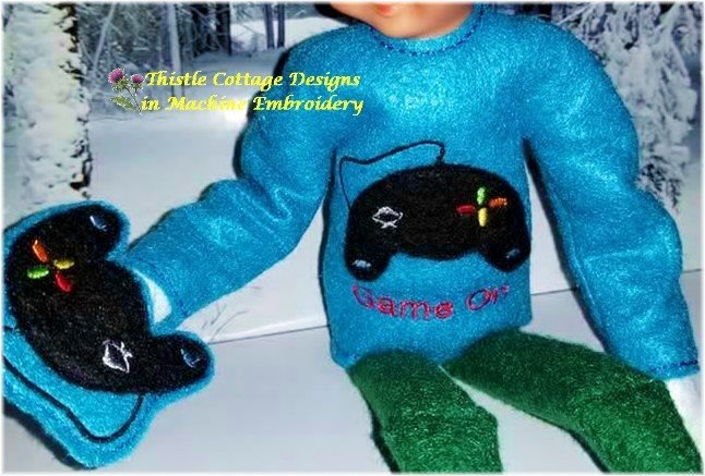 "Game On Elf Sweater & Game Controller Mitten for 12"" Dolls"