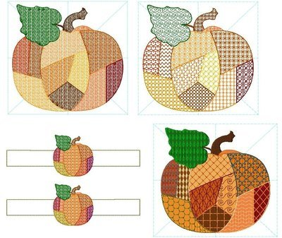 Patchwork Country Pumpkin Set of 4 Designs in 8 Sizes
