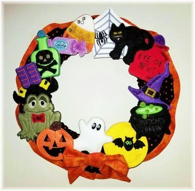 Halloween Wreath and 13 Piece Ornament Set 5x5 & 4x4