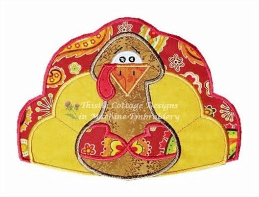 Primitive Turkey Applique 4x4