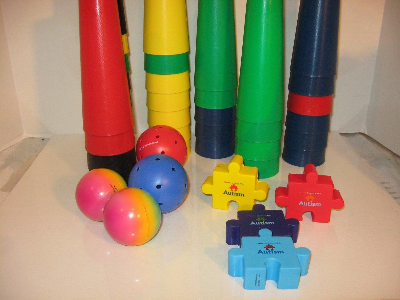 Therapy Cones 20 Ct., Autism Puzzle, Stress & Plastic Balls