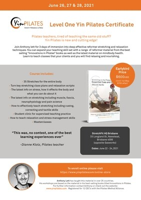 Level One Yin Pilates Workshop (Newstead)
