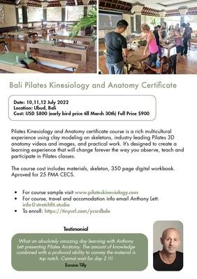 Bali Pilates Kinesiology & Anatomy Certificate Course 2022