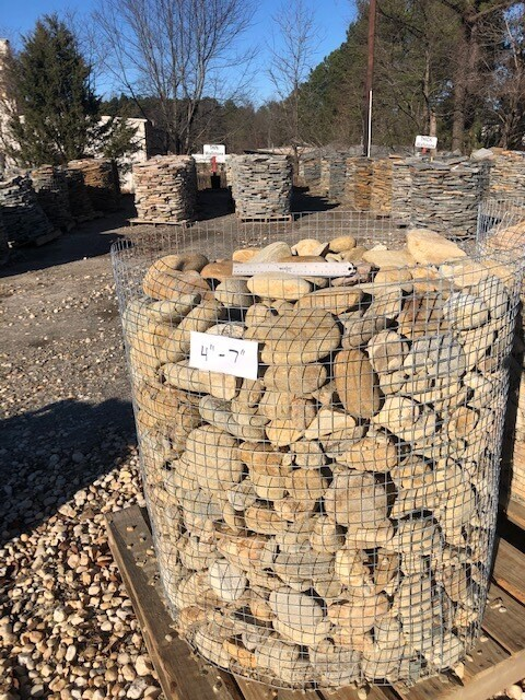"Tennessee River Rock 4"" to 7""  (1-TON PALLET)"