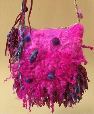 Raspberry Felted Handbag / Curly Sheep Locks