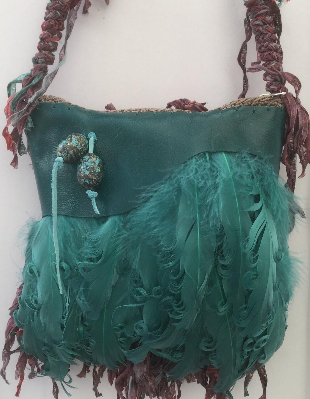 Teal Green Curled Feather Handbag