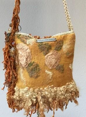 Felted Handbag Sheep Locks Ribbon Fringe