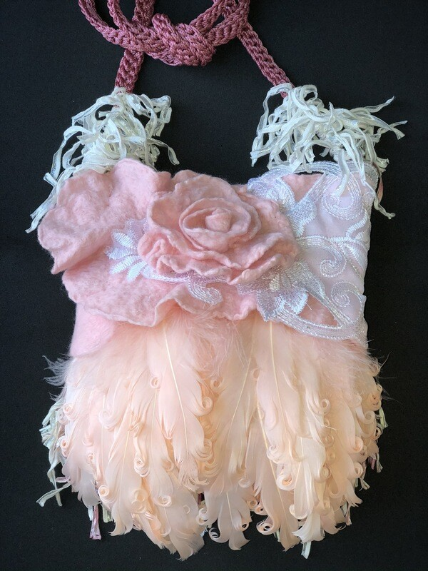 Bridesmaid Soft Pink Feather Handbag