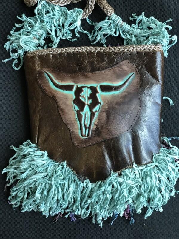 Western BoHo Leather & Teal Ribbon Fringe Handbag