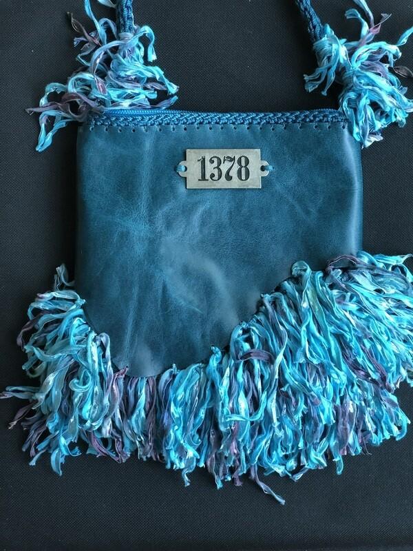 Teal Blue Handbag With Leather & Fringe