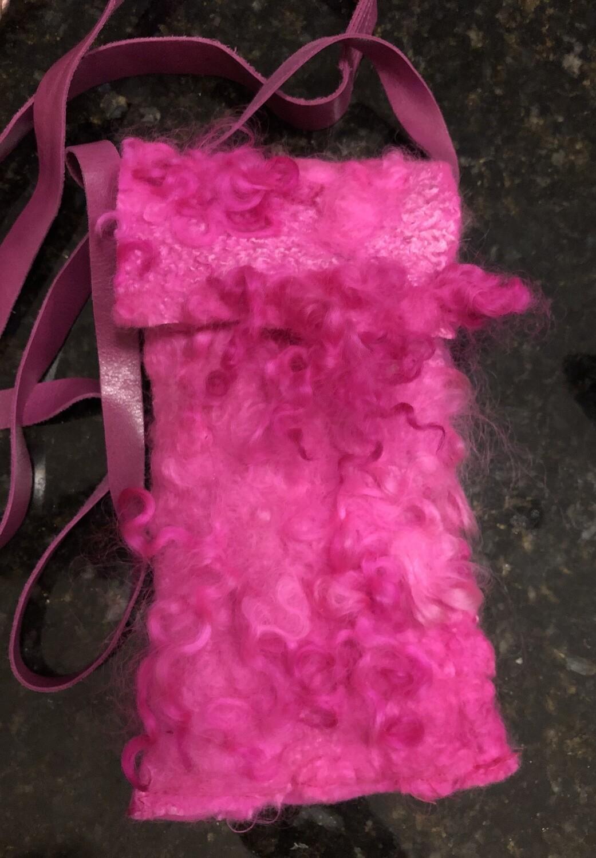 Hot Pink Felted Phone Bag