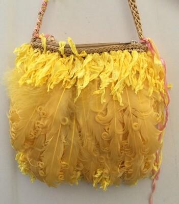 """""""Yellow Canary"""" Feather Handbag"""