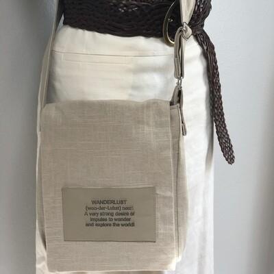 Tan Linen Crossbody  Messenger IPad Bag Small