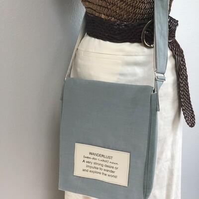 Sea Foam Linen on Linen Crossbody Messenger Bag Medium