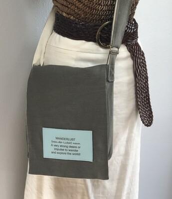 Brown/Gray Medium Linen Crossbody Messenger Computer Bag