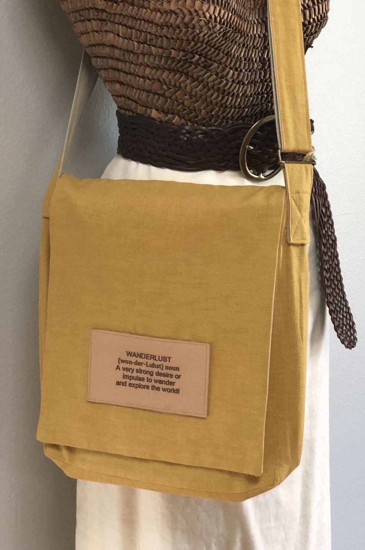 Mustard Linen Crossbody Messenger Computer XLG